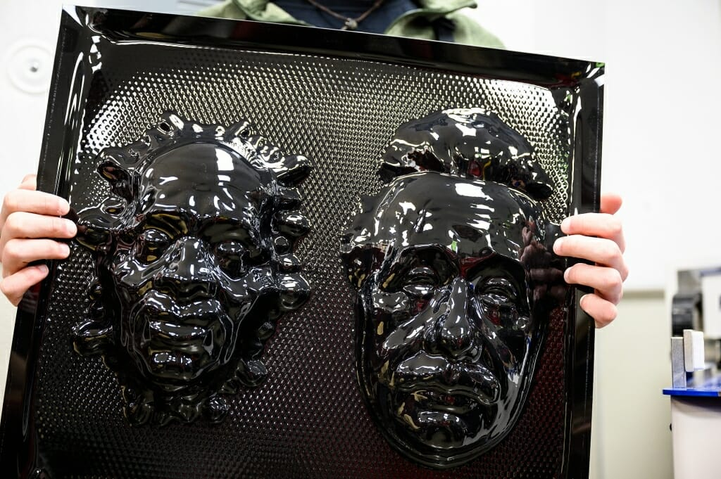 Photo: Closeup of the 2 black masks