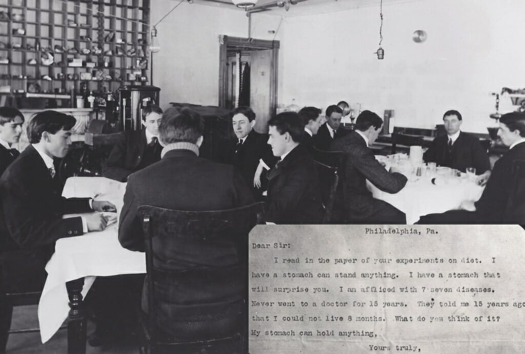 "Photo: Men sitting around tables, with inset of letter from person inquiring about their stomach's ability to ""hold anything"""