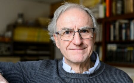 John Valley, professor of geoscience, is pictured in his office in Weeks Hall at the University of Wisconsin-Madison on Dec. 15, 2017. Valley is a geoscience expert who discovered the oldest samples of Earth -- 4,400-million-year-old zircons -- showing that oceans and clement conditions existed on the surface of earliest Earth. (Photo by Jeff Miller / UW-Madison)