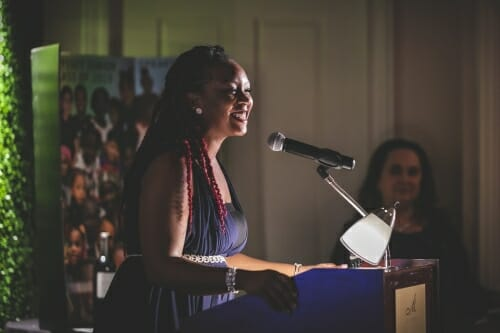 Photo: Keena Atkinson speaks.