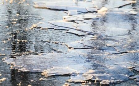 Photo: Broken up ice on open Lake Mendota near shoreline
