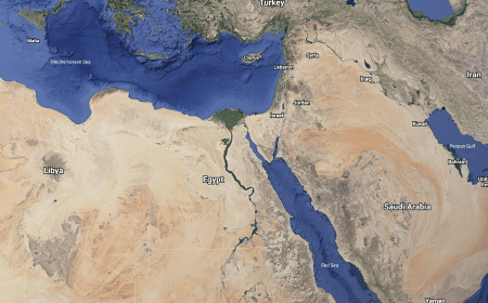 An aerial view of northern Africa, the Arabian Peninsula and the Mediterranean Basin. A new study led by University of Wisconsin–Madison's John Kutzbach shows that changes in Earth's orbit, greenhouse gases, and ice sheets influenced the planet's climate over the last 140,000 years and may have provided wetter, greener corridors at times that permitted human migration out of Africa and into the Middle East.