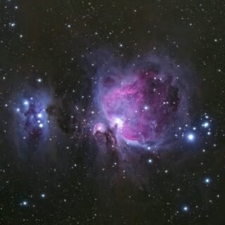 "The Running Man Nebula (left) and Great Orion Nebula can be found in the ""sword"" in the middle of the constellation Orion — one of the winning images from the 2017 CSI Contest."