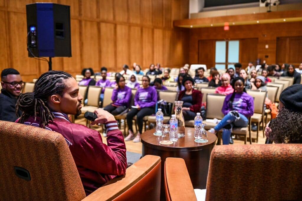 A crowd of more than 75 people attended Pierce Freelon's speech on Afrofuturism.