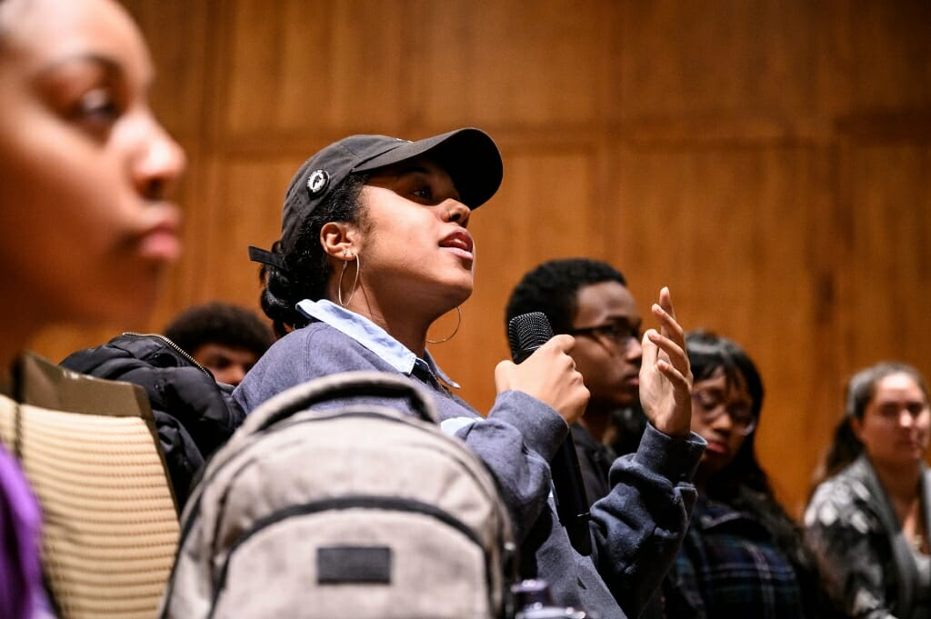 Evan Lewis, a graduate student in the Department of Afro-American Studies and native of Durham, N.C., asks about keynote speaker Pierce Freelon's experience in 2017 running for mayor of the City of Durham.