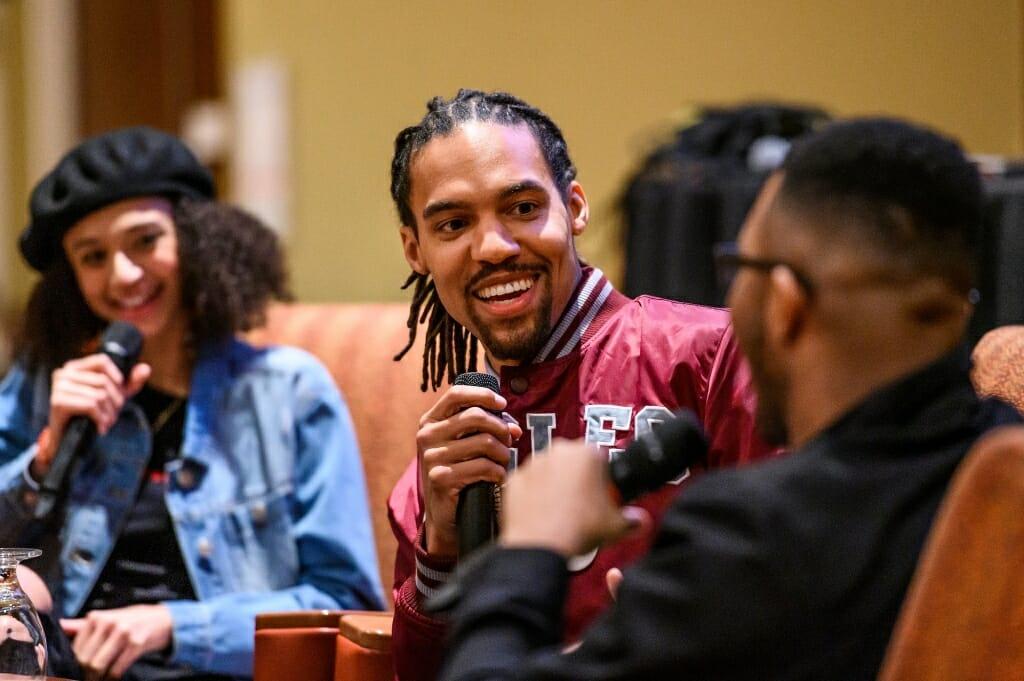 Freelon talks with student moderators Chelsea Hylton and Nile Lasana.