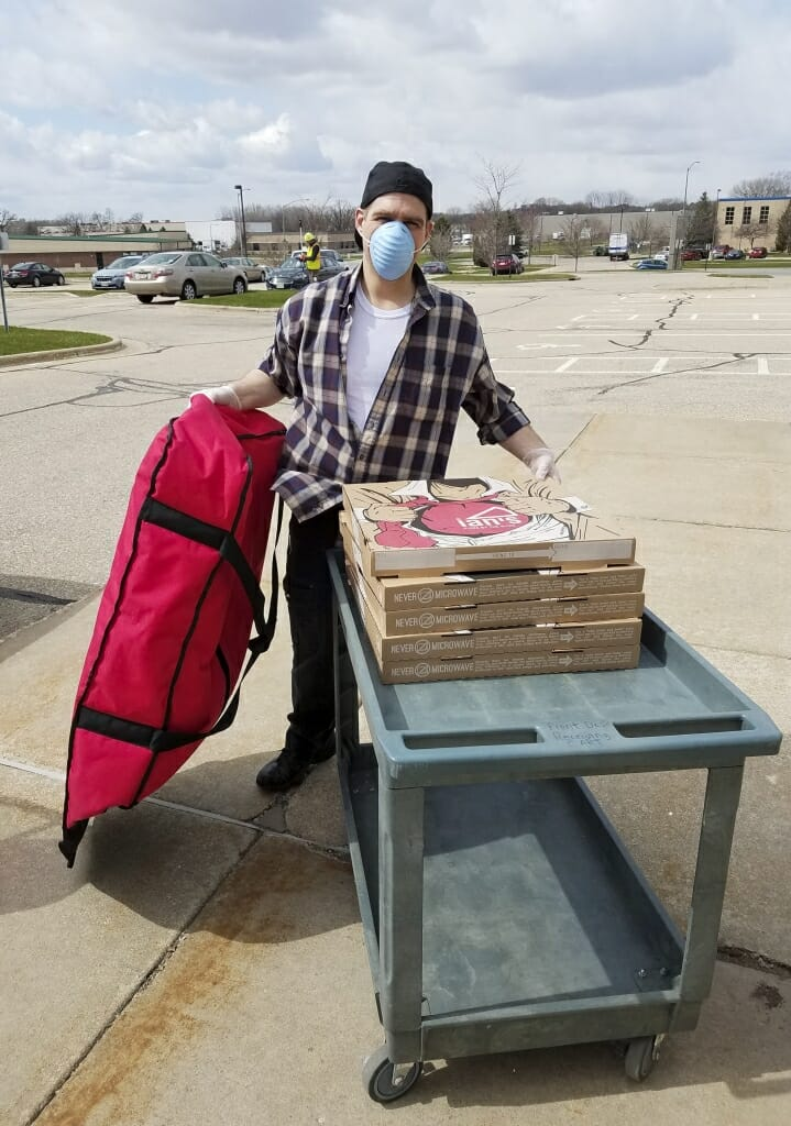 Precautions were taken with the pizza delivery from Ian's Pizza.