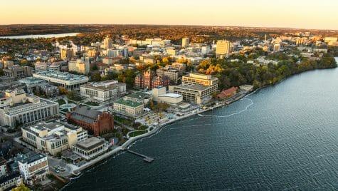Aerial photo of campus and Lake Mendota.