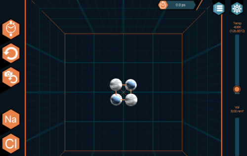 Screenshot of AtomTouch game showing four atoms on black background