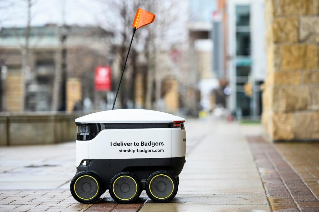 A robot pauses on campus