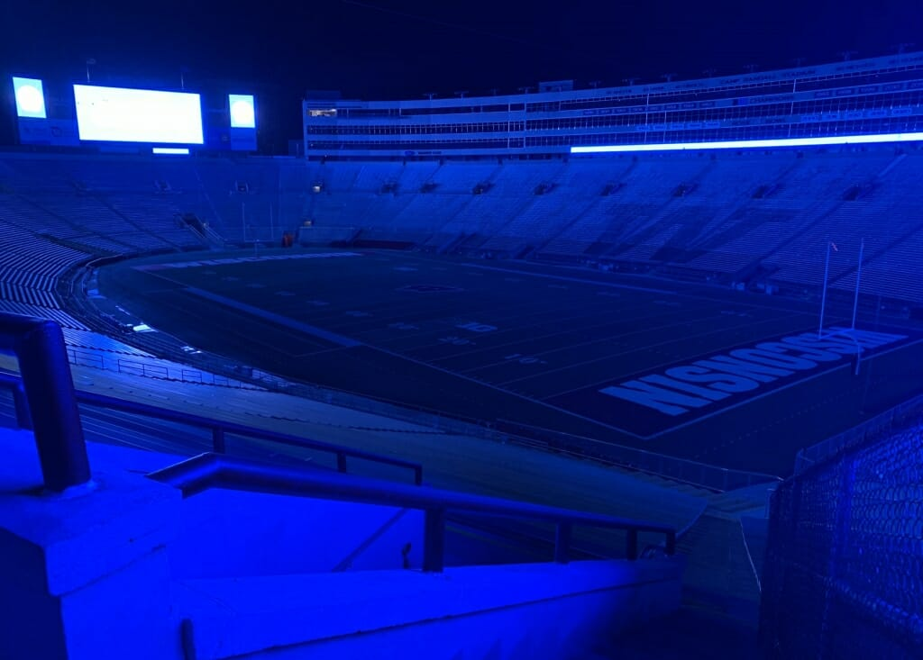 Camp Randall Stadium was empty Thursday night except for the blue light, which honored health-care workers during the pandemic.