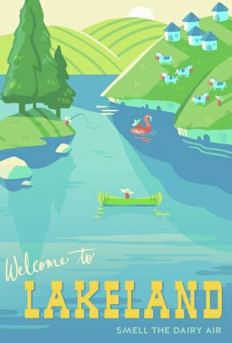 "Title screen reading ""Welcome to Lakeland"" showing a canoe on a lake surrounded by hills"