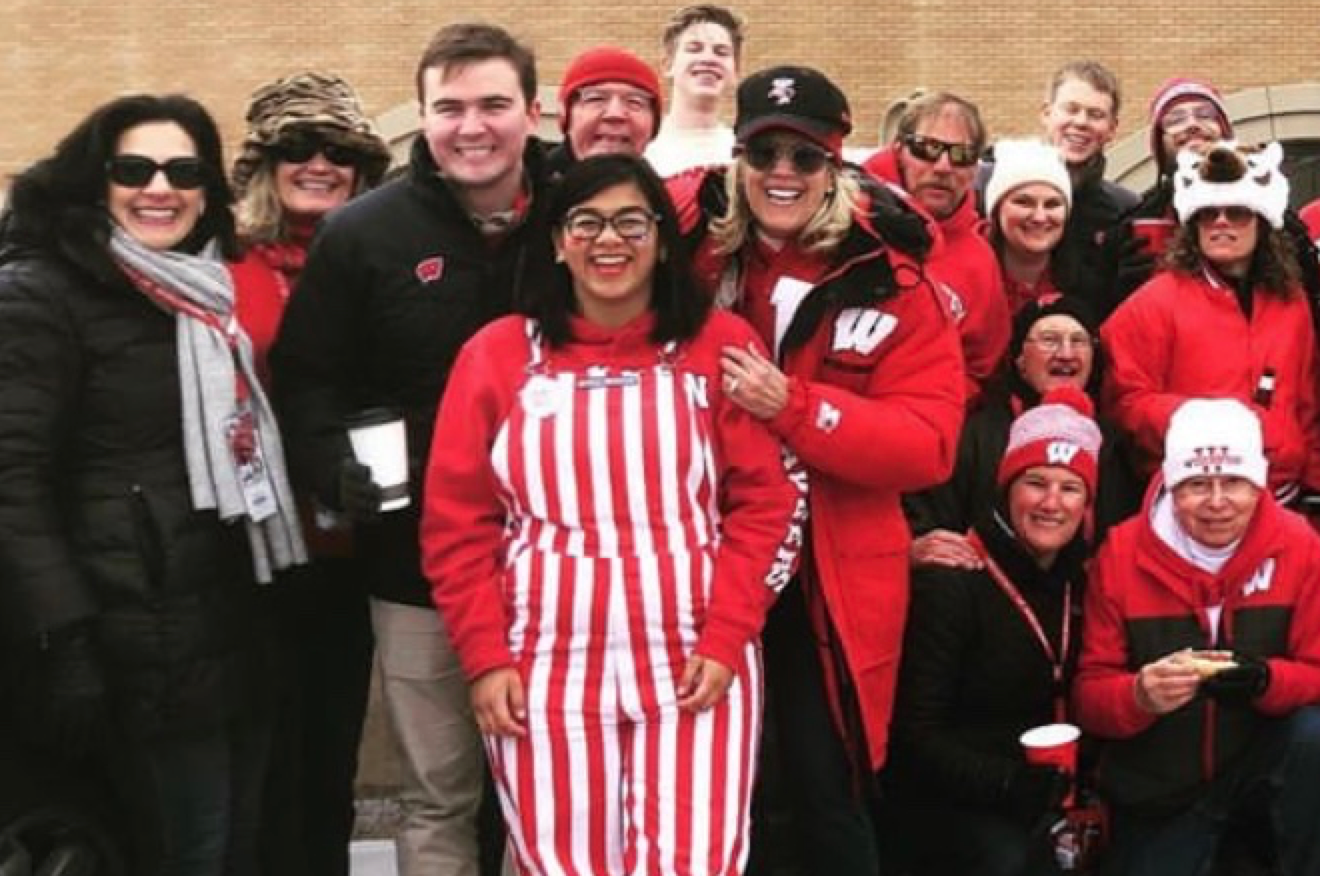 A group of people at a Badger football game.