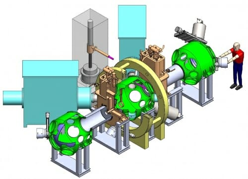 Illustration of a person standing at the end. of a large cylindrical machine about the size of a car