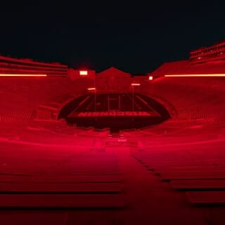 The Athletic Department used the stadium's scoreboard and ring display to illuminate Camp Randall.