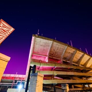 Street and stadium lights combined to cast Camp Randall Stadium in a beautiful and unusual glow.