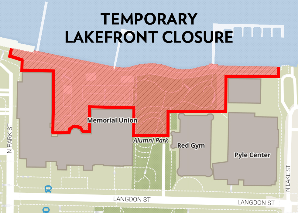 Highlighted in red is the Terrace area along Lake Mendota.