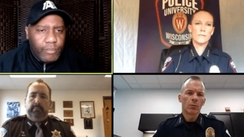 Screenshot of a Facebook Live event featuring Madison365 Publisher Henry Sanders, UWPD Chief Kristen Roman, Dane County Sheriff Dave Mahoney and other community and law enforcement leaders.
