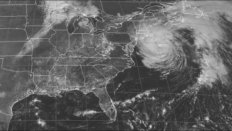 Satellite view of a hurricane off the coast of the U.S.