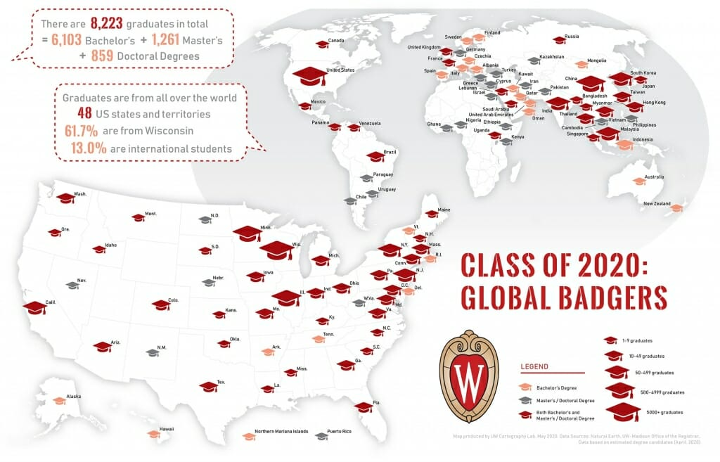 A map-based infographic showing the geographic distribution of members of the class of 2020.