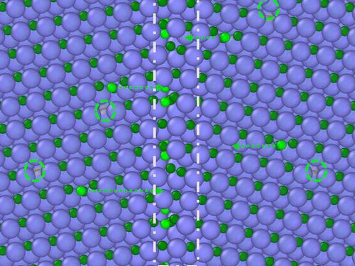 Illustration of carbon atoms moving toward crystalline ceramic