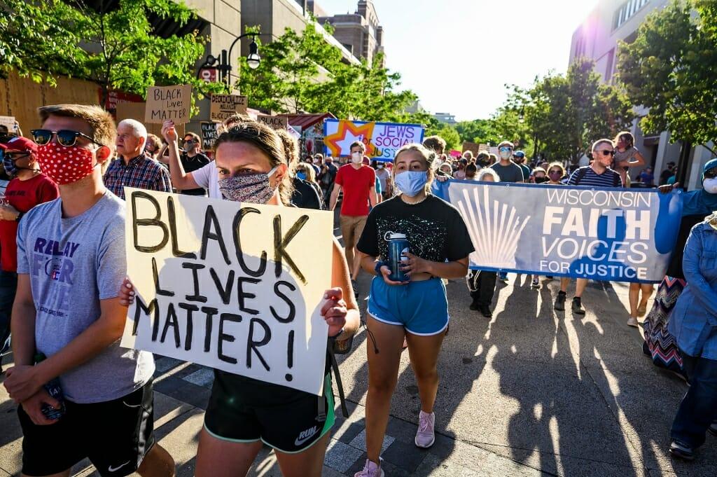 Protestors with Black Lives Matter banner