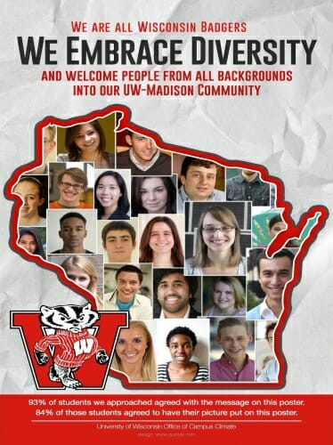 Individual photos of a diverse group of students superimposed on a map of Wisconsin with Bucky Badger in the corner