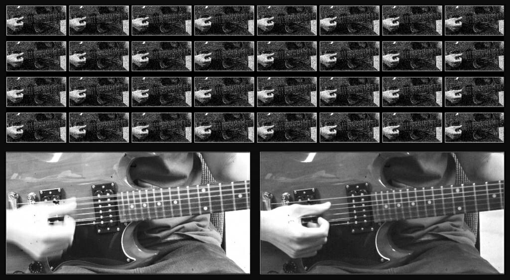Four rows of images of hand strumming guitar string, larger frame of strumming hand blurred, larger frame of hand in focus