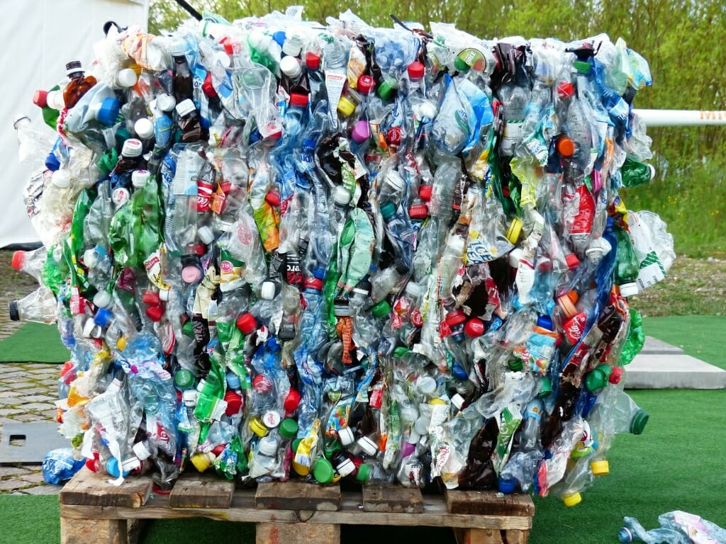 A bale of crushed plastic bottles