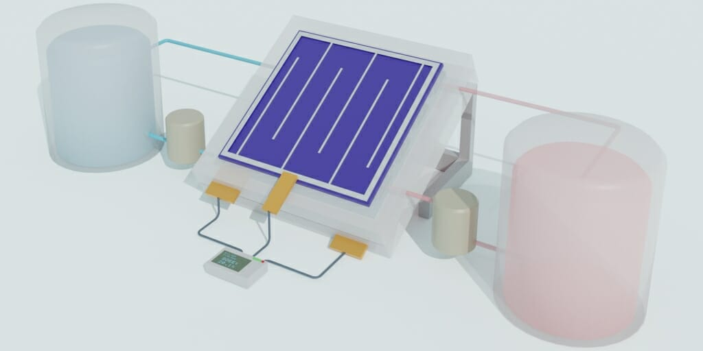 Schematic illustration of an integrated solar flow battery.