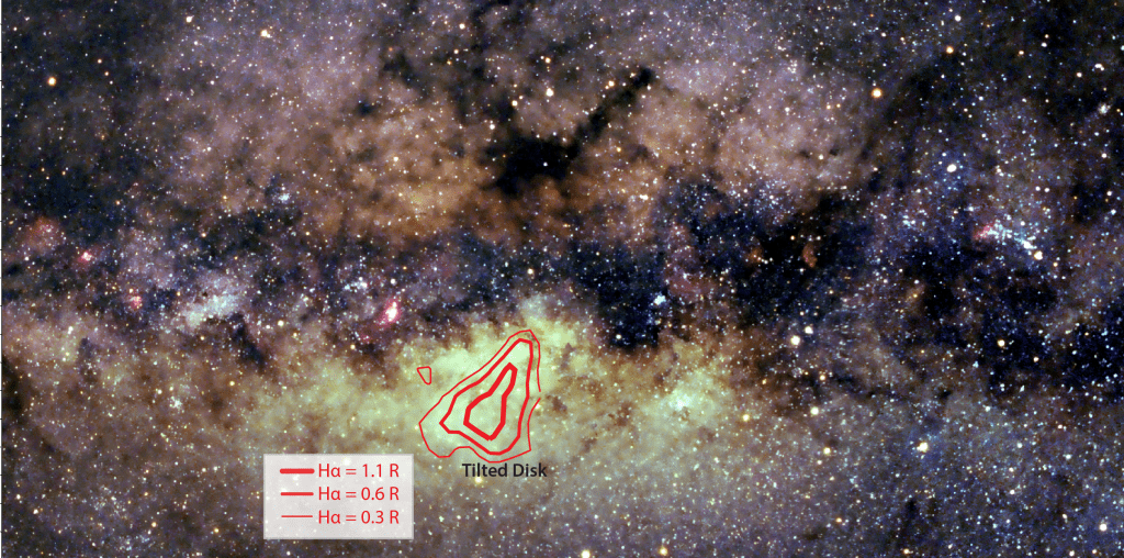 Milky Way with tilted disk outlined in red