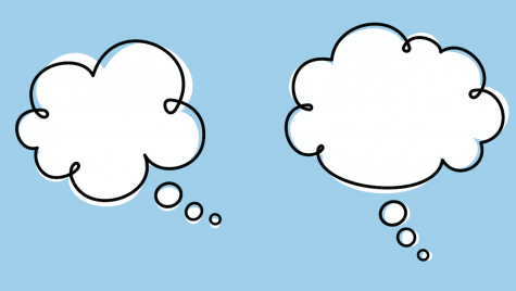 Cartoon image of 2 empty thought bubbles