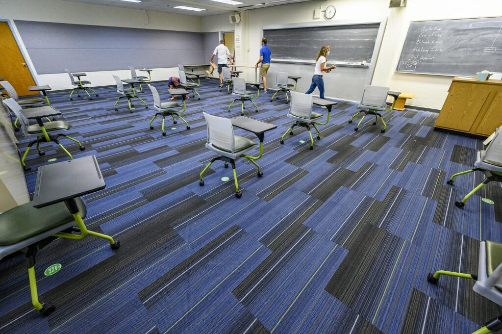 Classroom spaces for the fall are set up according to physical distancing guidelines as part of the Smart Restart plan.