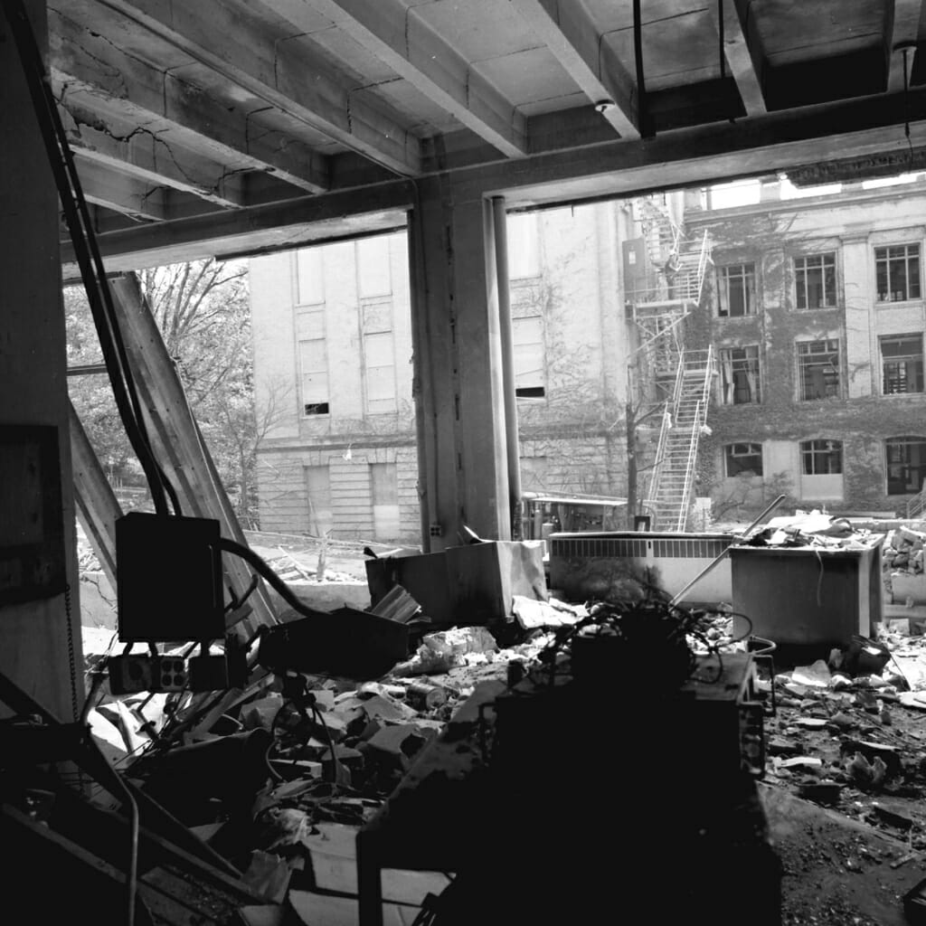 Interior of Sterling Hall with bomb damage and blown out windows