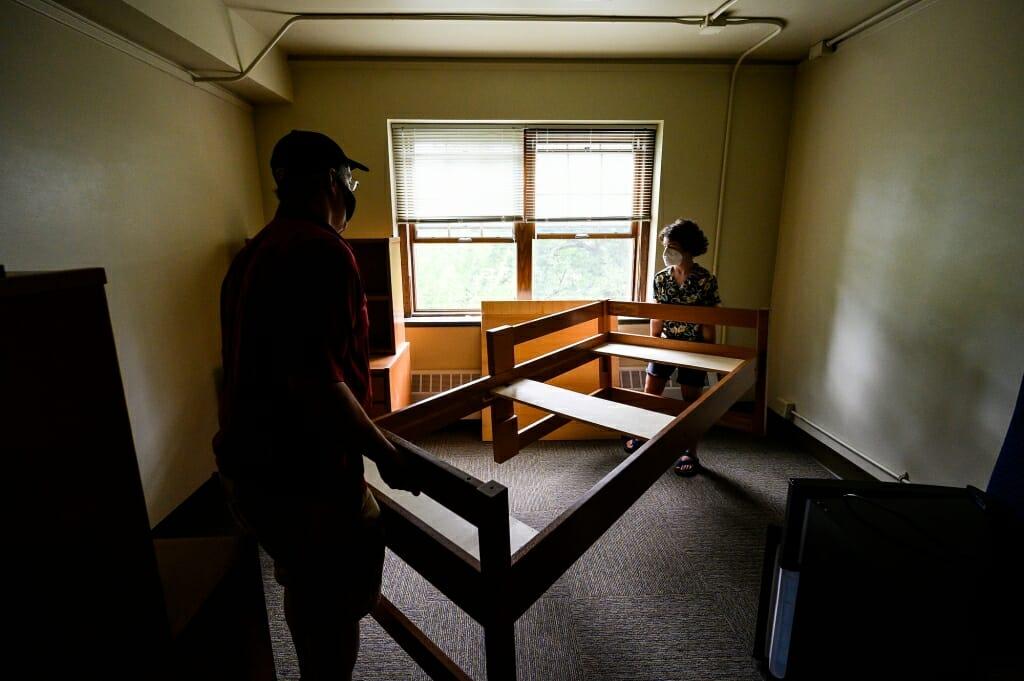 The Rosenbergs put together a loft bed frame.