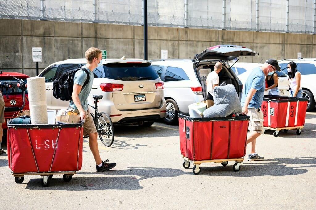 Students move into Ogg Residence Hall on Wednesday, Aug. 26, to start their fall semester.