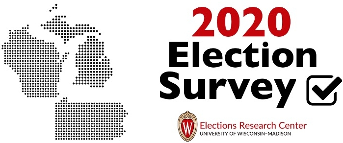 Outline maps of Wisconsin, Michigan and Pennsylvania with title 2020 Election Survey and ERC logo