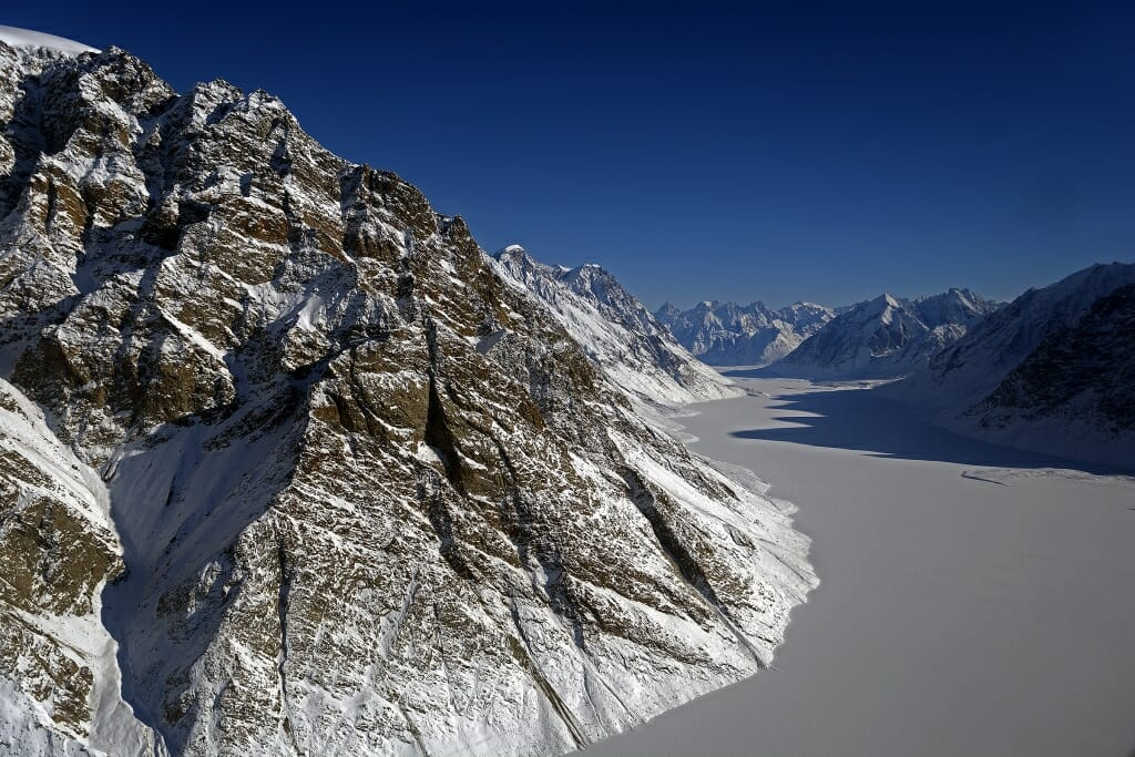 View of a frozen fjord and glacier