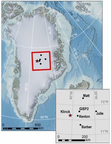 Map of Greenland with inset showing Klinck and nearby stations