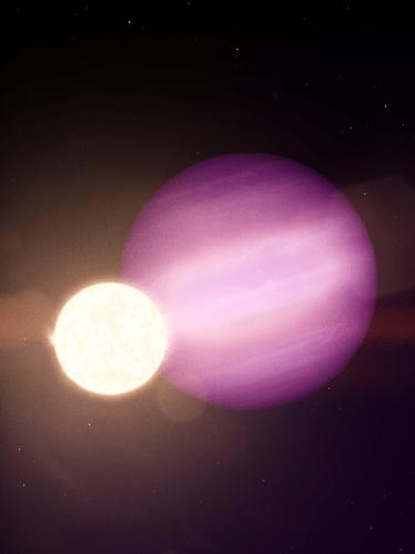 Purplish planet next to smaller, white sun against dark sky