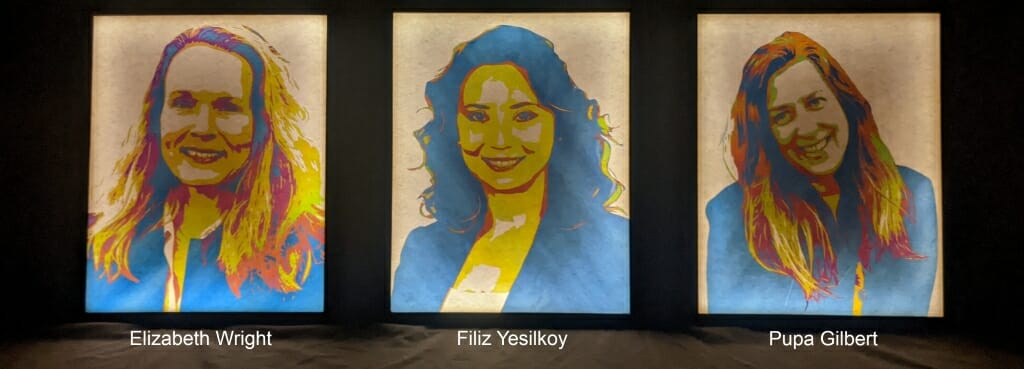 Portraits of Elizabeth Wright, Filiz Yesilkoy and Pupa Gilbert