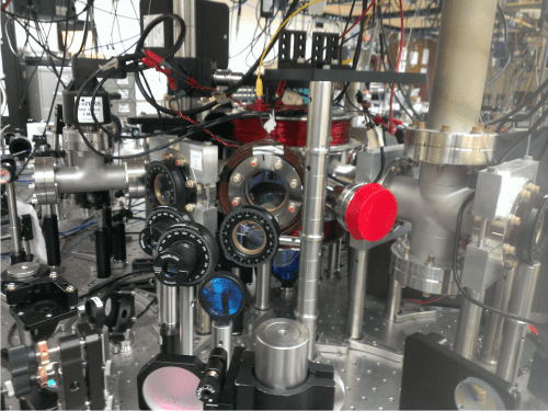 The ultrahigh vacuum chamber where rubidium atoms are laser cooled and excited