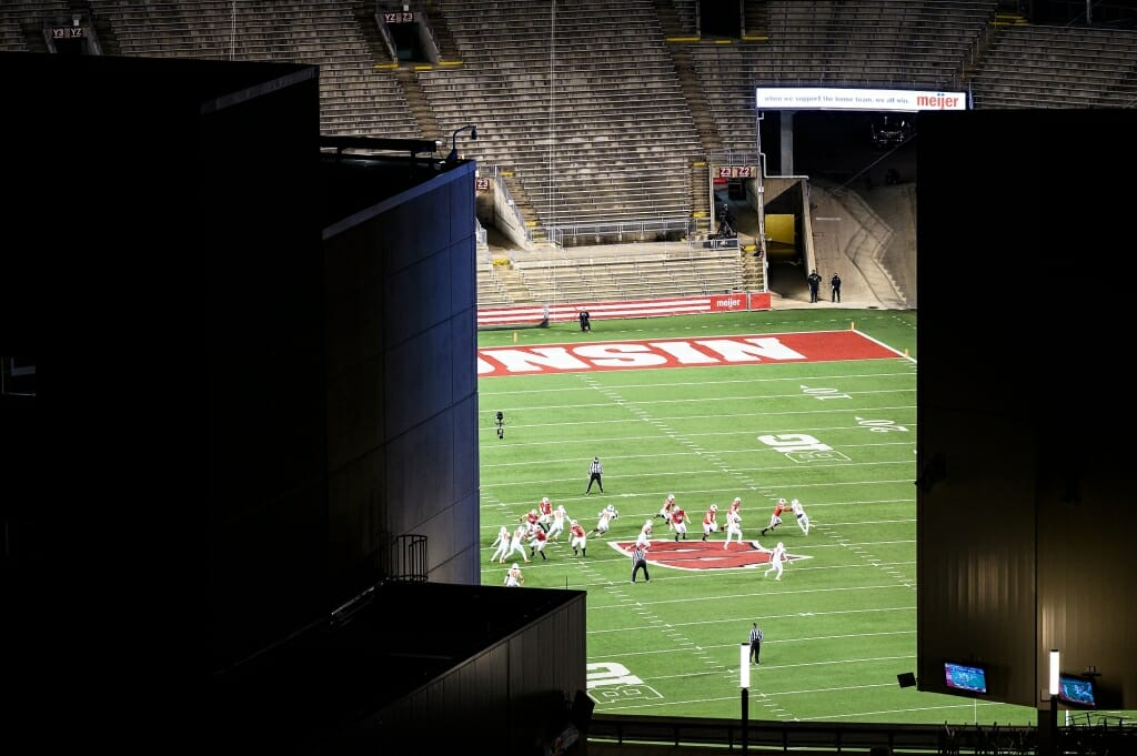 The Wisconsin Badgers football team takes on Illinois before an otherwise empty Camp Randall Stadium.