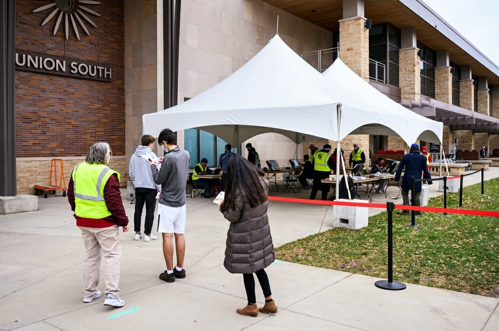 Tents were set up to allow students and others to safely cast their votes during in-person absentee voting.