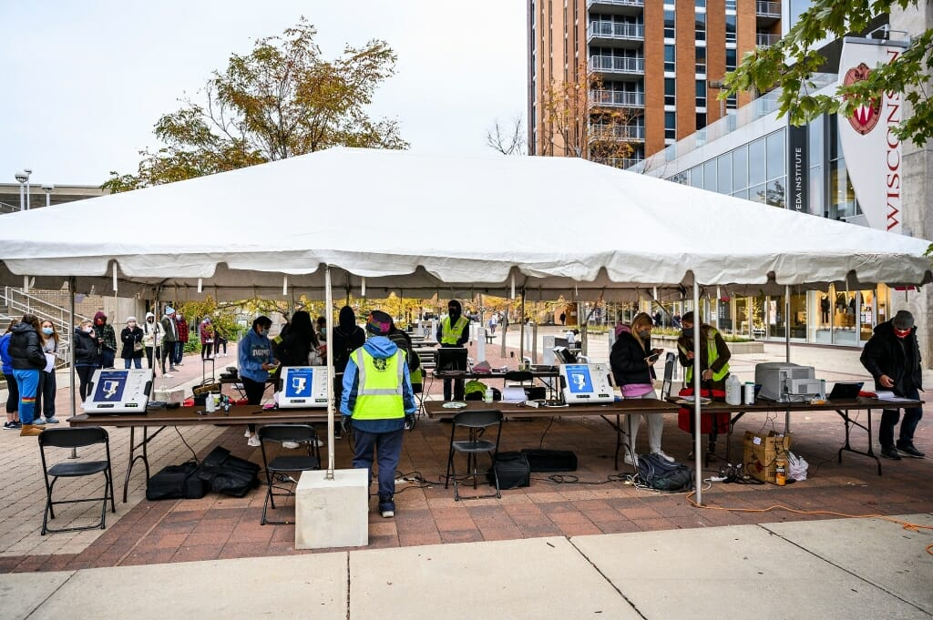 Tents were set up for voting on East Campus Mall (pictured), at Memorial Union and at Union South.