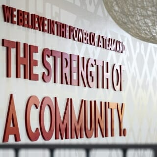 A motivational sign is pictured in the Nicholas Recreation Center.