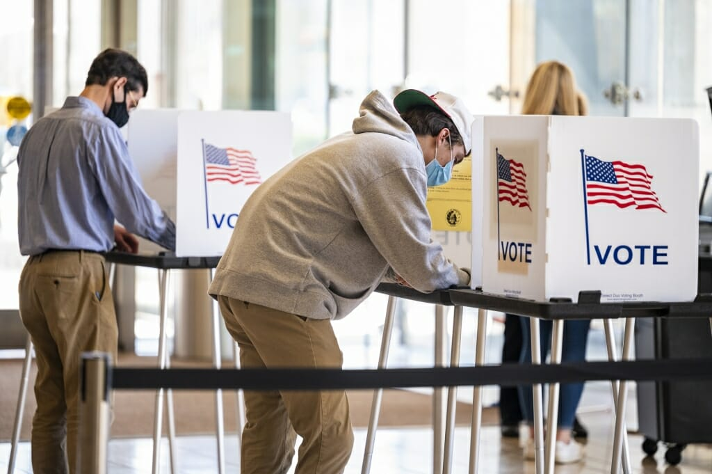 Polling places on campus remained busy throughout the day, but lines remained relatively short.
