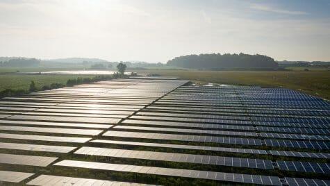 A solar array in a field