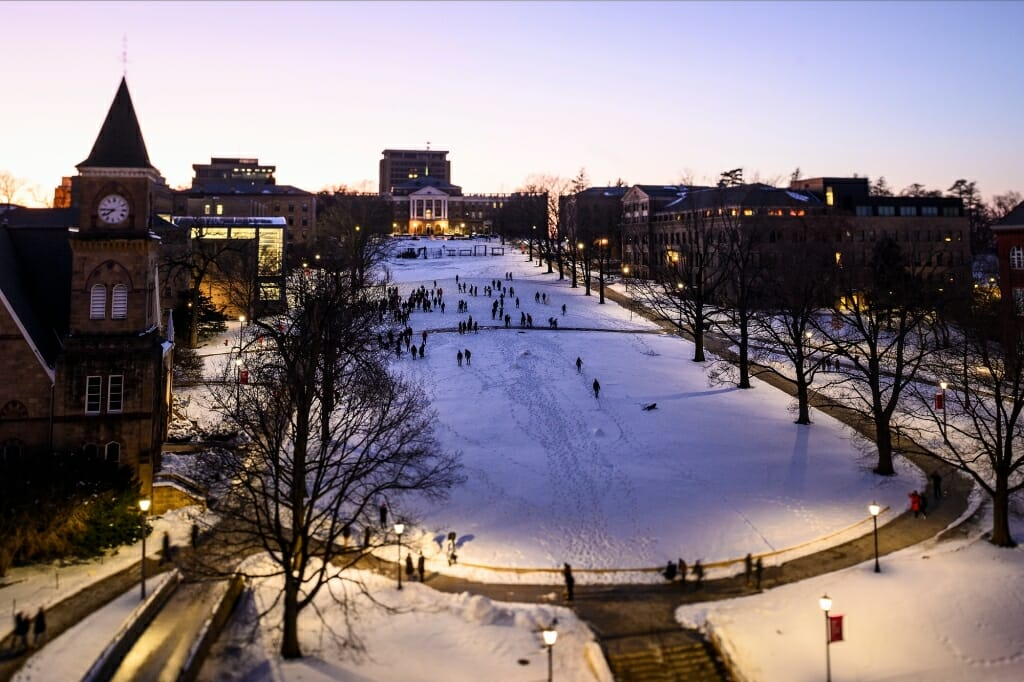 View of snow-covered Bascom Hill