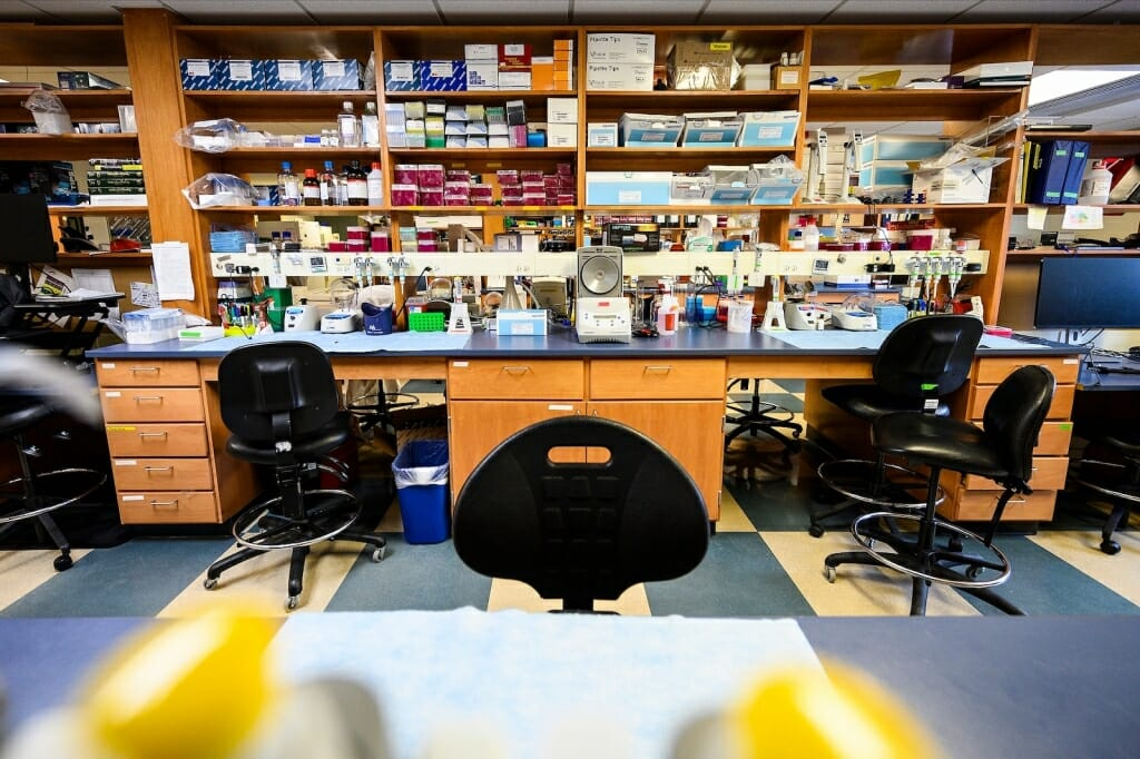 Laboratory with empty chairs and no people